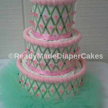 Mint Green and Pink Summer Themed Baby Shower Decor 3 Tier Elegant Beaded Watermelon Diaper Cake Table Centerpiece Baby Girl Gift