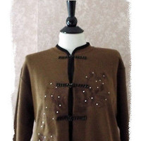 Bead Embroidered Knit Cardigan Sweater Black Brown Womens Large L