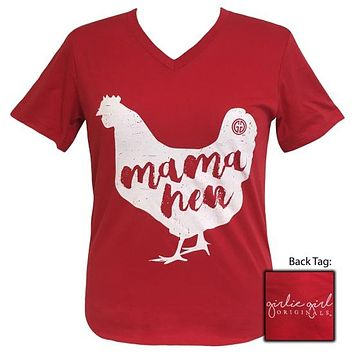 Girlie Girl Preppy Mama Hen V-Neck T-Shirt
