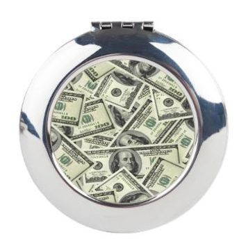 vintage 100 dollar bill Round Compact Mirror> vintage hundreds   100 dollar bill> Taglines T-shirts and more