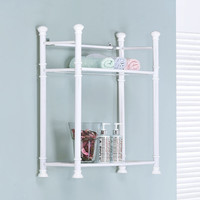 "White Metal 26""H Wall Mount Shelf With Tempered Glass"