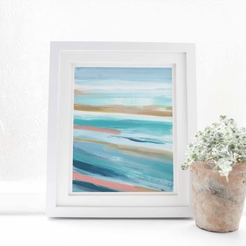 Abstract Seascape Beach Painting Turquoise Salmon Pink Wall Art Print