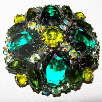 "Juliana Green Rhinestone Brooch Pin D&E Confirmed Domed Japanned Black Metal 2 1/4"" Vintage"