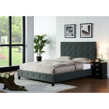 California King Size Upholstered Bed with Tufted Headboard in Dark Grey Fabric Upholstery