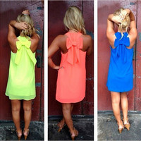 Women Summer Beach Bowknot Dress