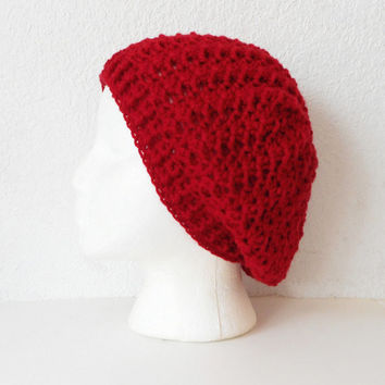 Lacy Red Slouch Beanie Hat, ready to ship.