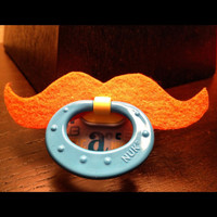 Mustache Pacifier Orange Strongman by BabyHipsters on Etsy