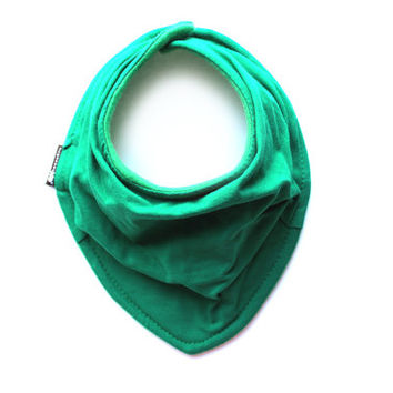 Solid Kelly Green Infant and/or Toddler Bandanna Bib - Neckerchief - Baby scarf  - READY to SHIP - Gender neutral