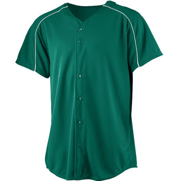 Augusta 583Wicking Button Front Baseball Jersey-Youth - Forest White