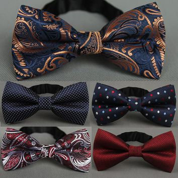 RBOCOTT Men's Bow Tie Gold Paisley Bowtie Business Wedding Bowknot Dot Blue And Black Bow Ties For Groom Party Accessories