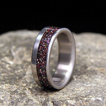 Titanium Wedding Band or Ring Metallica Mixed Metalflake Dust Offset Inlay