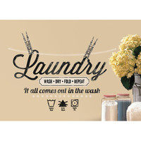 Room Mates Laundry Quote Peel and Stick Wall Decal