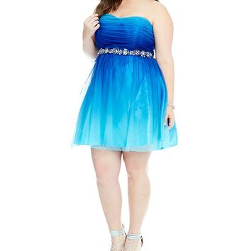 B. Darlin Plus Strapless Ombre Party Dress | Dillards