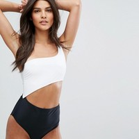 New Look Monochrome One Shoulder Swimsuit at asos.com