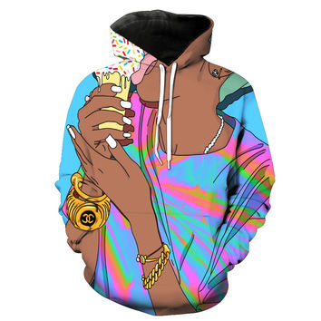 Licking On Her Ice Cream Cone In The Summer Tie Dye Hoodie