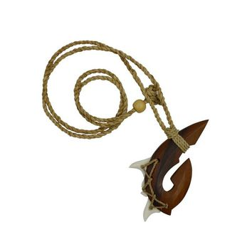 Shark Tooth and Wood Fish Hook Necklace
