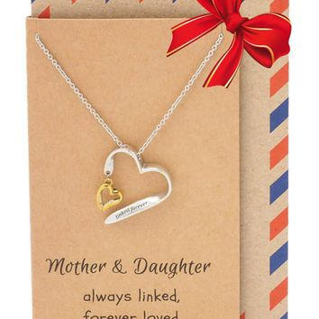 Caroline Mother Daughter Necklace, Two Hearts One Love