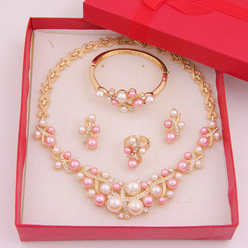 Womens Girls Rose Gold Plated African Beads Costume Jewelry Sets Pink Peal Rhinestone Crystal Luxurious Bridal Jewelry Costumes