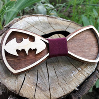 Free Shipping! Batman Bow Tie Wooden Bow Tie Wood Bow Tie Boys Bowtie Wood Bowtie Wooden Bowtie Mens Bow Tie. 100% Hand Made - Mens Gift