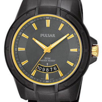Pulsar Mens On the Go Collection Date Watch - Black Ion &  Gold-Tone - Bracelet