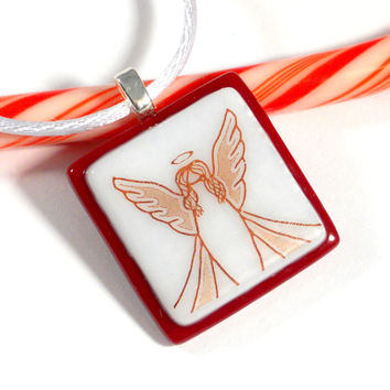 Red and White Christmas Angel Pendant, Fused Glass Necklace, 1 Inch Square
