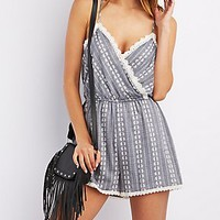 LACE-TRIM SURPLICE ROMPER