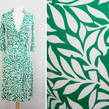 "Vintage Diane Von Furstenberg ""Justin"" Wrap Dress - Laurel Leaf Print Silk Jersey Dress - Deep V Neckline '70s Style - Size Small"