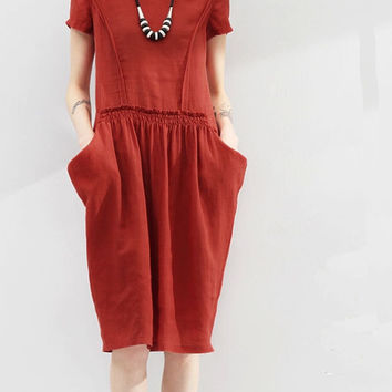 Women  brick red white black dress Summer tops Summer blouse  Linen Handmade comfy dress (WD11164)