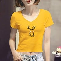 Women Casual Fashion Cute Cartoon Print Short Sleeve V-Neck Short T-shirt Tight Crop Tops Tee