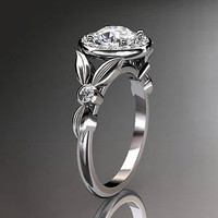 AMAZING FLOWER 1.85C WHITE ROUND 925 STERLING SILVER ENGAGEMENT AND WEDDING BAND