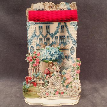 Vintage 3-D Foldout Valentine with Lots of Flowers, a Cherub and Architectural Elements