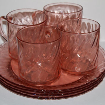 Vintage Rose Depression Glass set plates cups bowl pink glass