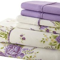 Spirit Linen Palazzo Home 105GSM 6-Piece Luxurious Printed Sheet Set, Queen, Lavender Floral
