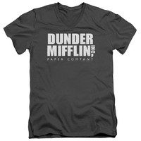 THE OFFICE/DUNDER MIFFLIN - S/S ADULT V-NECK - CHARCOAL -