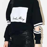 Black Letter And Stripe Print Cut Out Sleeve Loose T-shirt - Choies.com