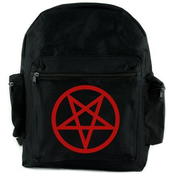 Red Inverted Pentagram Backpack School Bag Goth Punk Occult