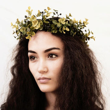 Green Eucalyptus Leaf Crown, Greek Goddess, Toga Costume, Unisex, Leaf Headband, Leaf Headpiece, Greek God, Greek Wedding, Leaf Headpiece