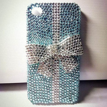 Light Blue Crystal Clean rhinestone bow Glitter by cellcaseworks