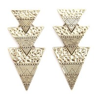 ETCHED & HAMMERED DANGLING TRIANGLE EARRINGS