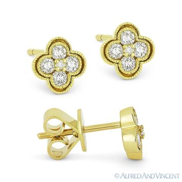 0.28 ct Round Brilliant Cut Diamond Pave Flower Stud Earrings in 14k Yellow Gold