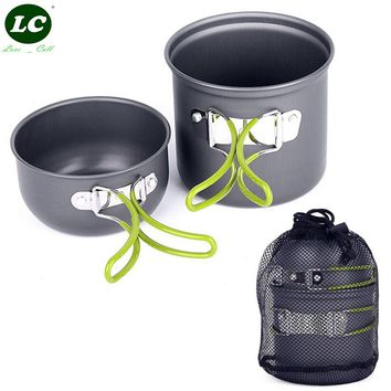 Camping Cookware Set Hiking Picnic Cooking Set Non-stick Cookware Outdoor Aluminum Pots Pans Bowls with Foldable Handle