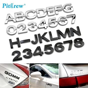 3D Car Styling Metal DIY ARC Letters Chrome Digital Alphabet Emblem Decal Car Stickers Custom Logo Automobiles Car Accessories