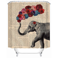 2016 New Elephant Nose Puffing Flowers Waterproof Shower Curtain High Quality Eco-Friendly  Fabric-shower-curtain Y-164