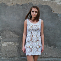 FREE SHIPPING Crochet dress, crochet dress woman, crochet dress white, woman handmade dress crochet, boho clothing, boho dress