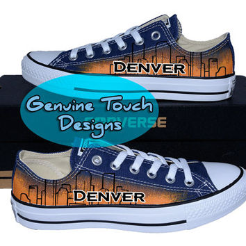Hand Painted Converse, Denver, Skyline, Colorado, Custom converse, Birthday Gifts, Christmas Gifts, Art work shoes