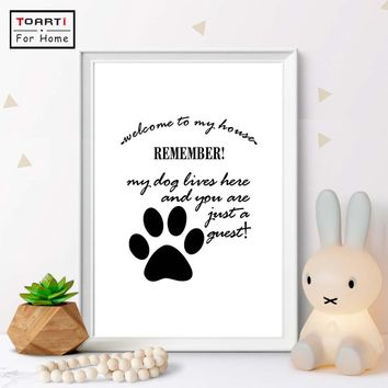 Dog Paw Printed Painting Nordic Style Kid Decoration Boy'S Girl'S Room Posters And Prints Wall Picture For Living Room Wall Art