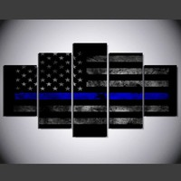 5 Panels Canvas Print Wall Art Picture poster 001 USA Thin Blue Line Flag