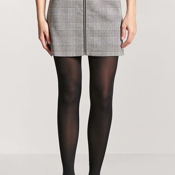Glen Plaid Zip-Front Skirt