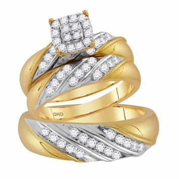 14kt Two-tone Gold His & Hers Round Diamond Cluster Matching Bridal Wedding Ring Band Set 1.00 Cttw - FREE Shipping (US/CAN)