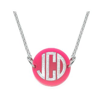 Acrylic Disc Block Monogram Necklace